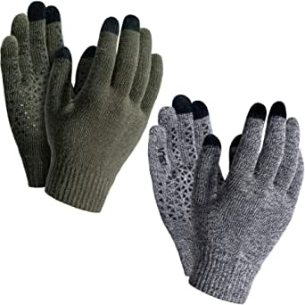 TSLA (Pack of 1, 2) Men and Women Touch Screen Winter Gloves, Texting Anti-Slip Thermal Knit Gloves, Cold Weather Running Gloves
