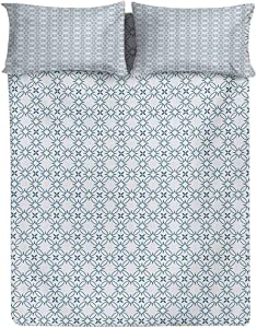 SHENGLIPINK Geometric Fitted Sheet & Pillow Sham Set,Complex Optical Illusional Design with Vertical Nested Squares Chevron Zigzags Decorative Printed 3 Piece Bedding Decor,Queen Size,Blue White