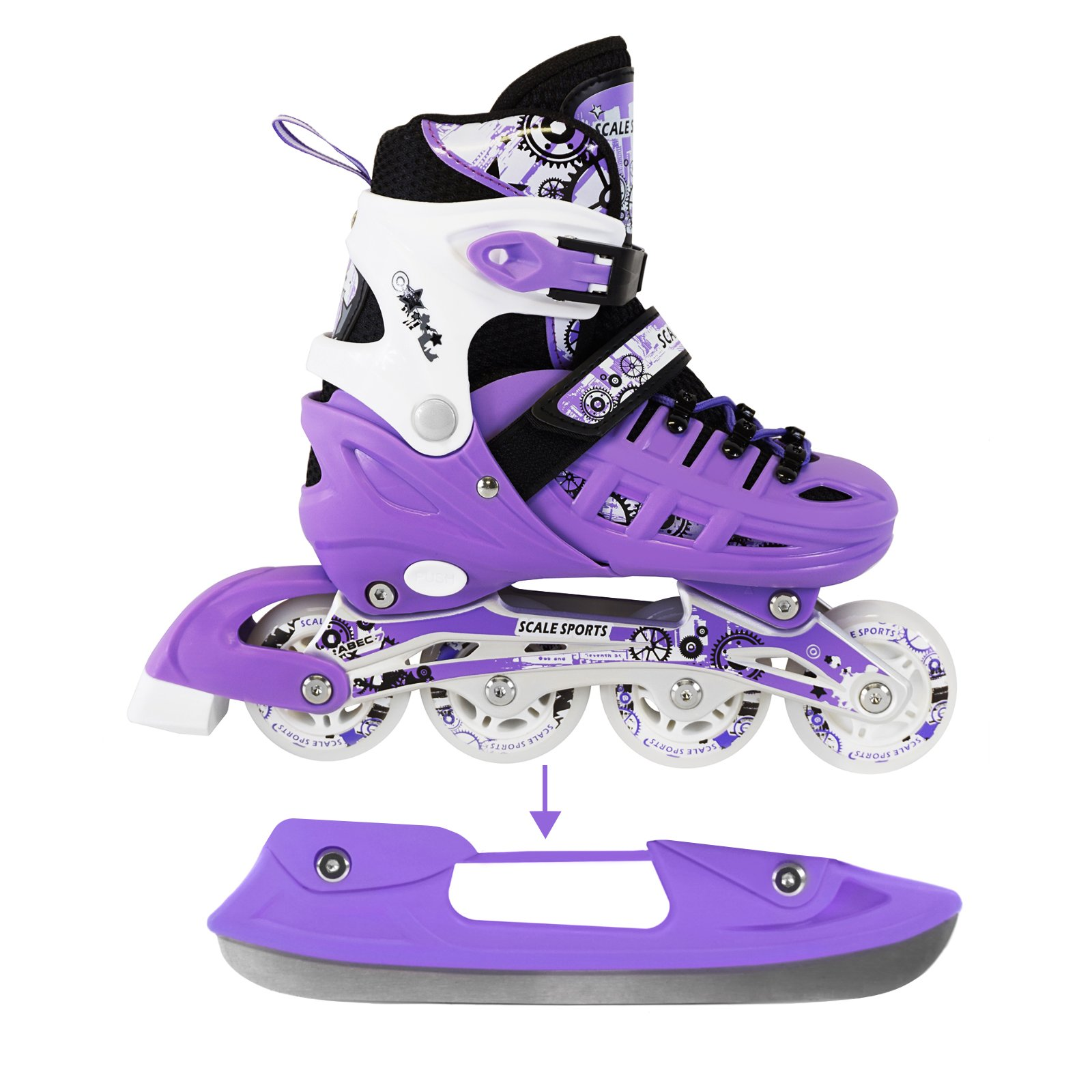 Adjustable Purple Inline Skates Ice Skates Combo Pack Gift Boxed for Kids Boys Girls Ladies Teens Size Medium