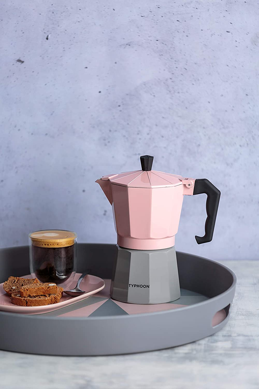 color rosa y gris Typhoon Cafe Concept 1401.795 Cafetera de expreso 6 tazas