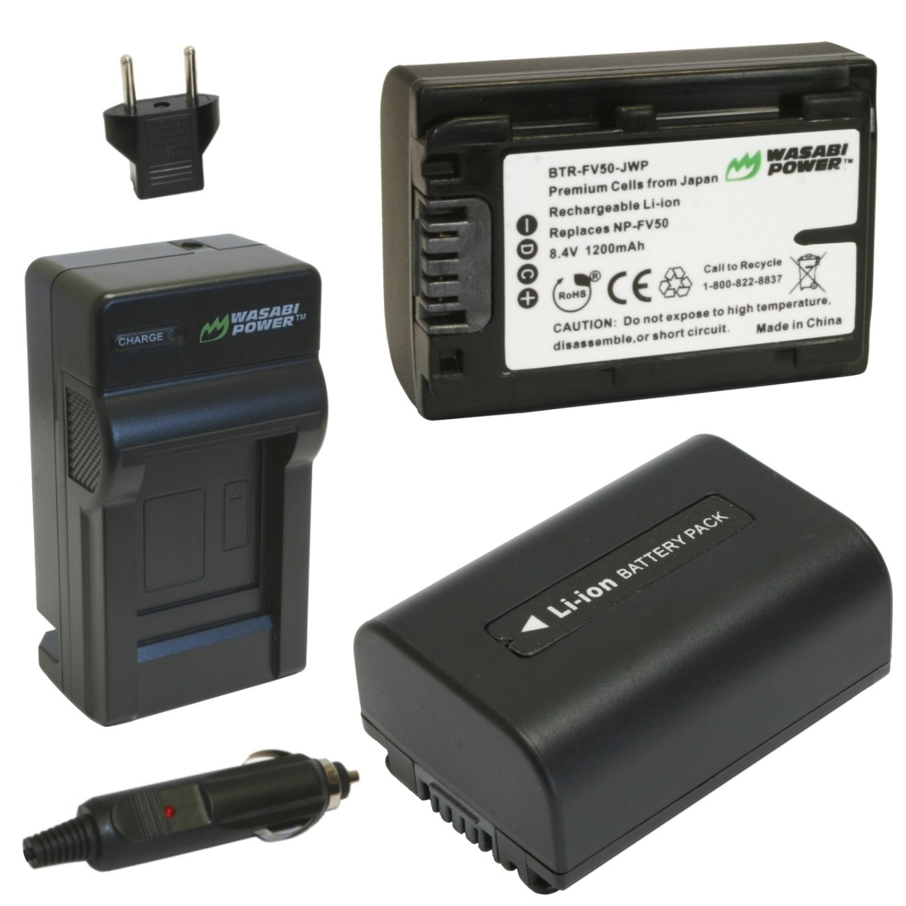 Wasabi Power Battery (2-Pack) and Charger for Sony NP-FV30, NP-FV40, NP-FV50 and Sony DCR-SR15, SR21, SR68, SR88, SX15, SX21, SX44, SX45, SX63, SX65, SX83, SX85, FDR-AX100, HDR-CX105, CX110, CX115, CX130, CX150, CX155, CX160, CX190, CX200, CX210, CX220, C