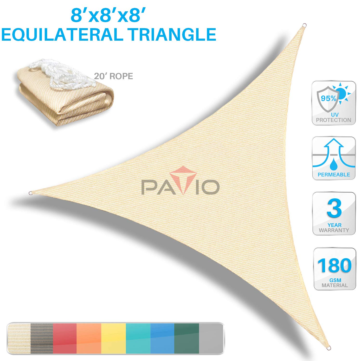Patio Paradise 8' x8'x 8' Beige Sun Shade Sail Triangle Canopy - Permeable UV Block Fabric Durable Outdoor  - Customized Available by Patio