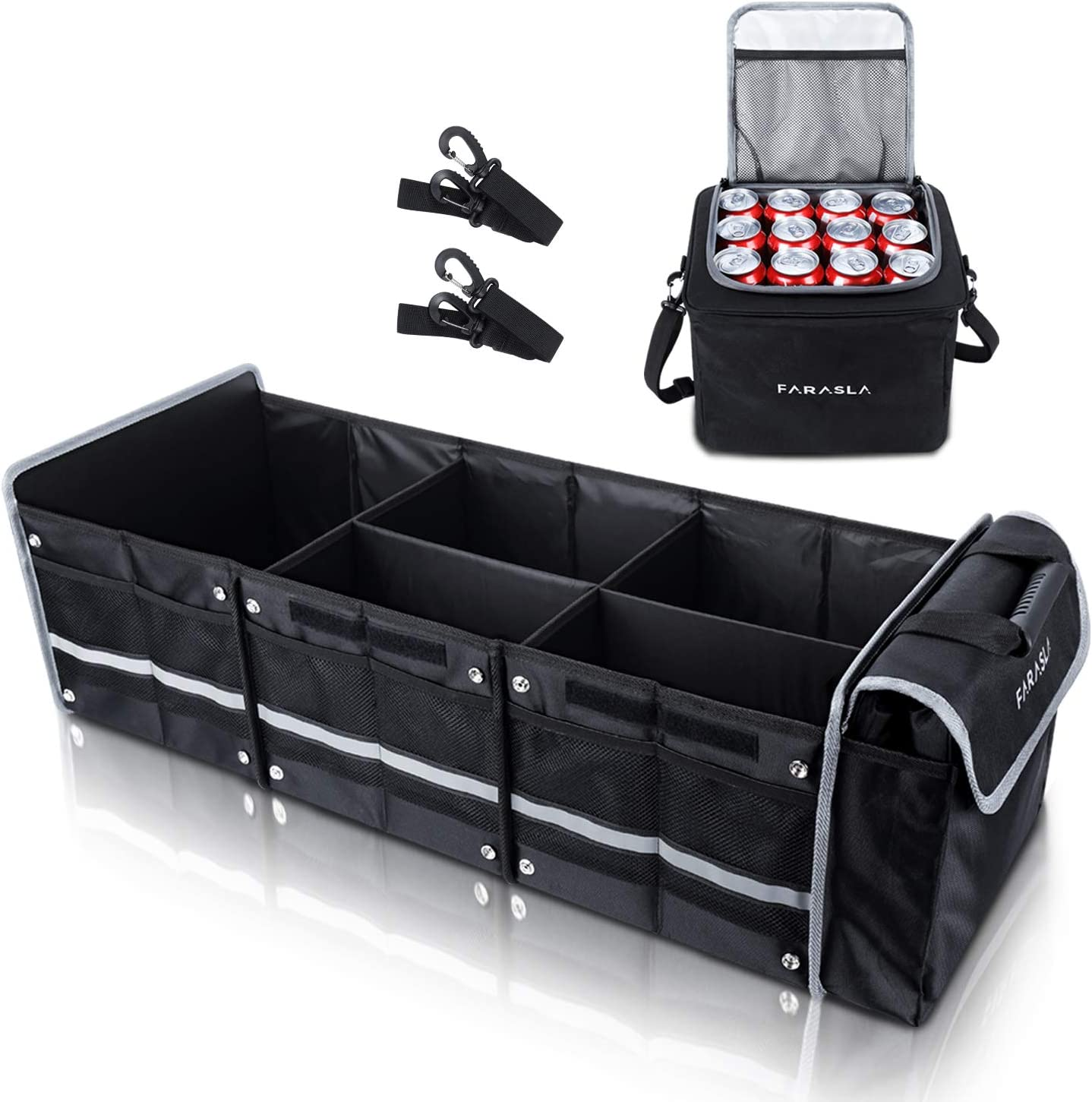 Black Collapsible Storage Waterproof Durable with Aluminium Alloy Handle and Securing Straps Morrols Car Trunk Organizer Multi Compartments