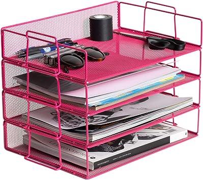 Klickpick Office 4 Tier Heavy Duty Metal Desktop Letter Tray File Organizer S...