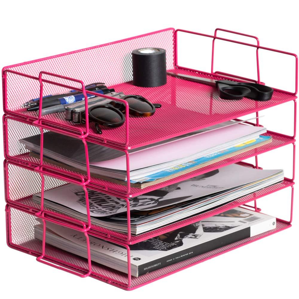 Klickpick Office 4 Tier Stackable Heavy Duty Metal Desktop Letter Tray File Organizer Sorter Desk Document Organizer Shelf Tray Magazine Holder Paper File Newspaper Organizer Tray - Black (Pink)