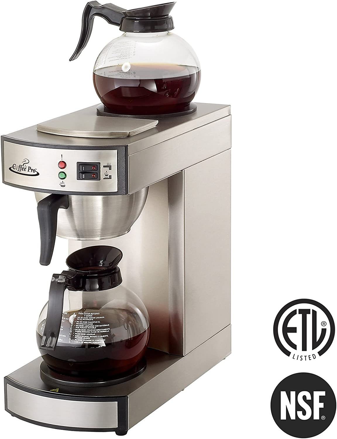 Coffee Pro CP-RLG2 Twin Warmer Institutional Coffee Maker, Stainless Steel