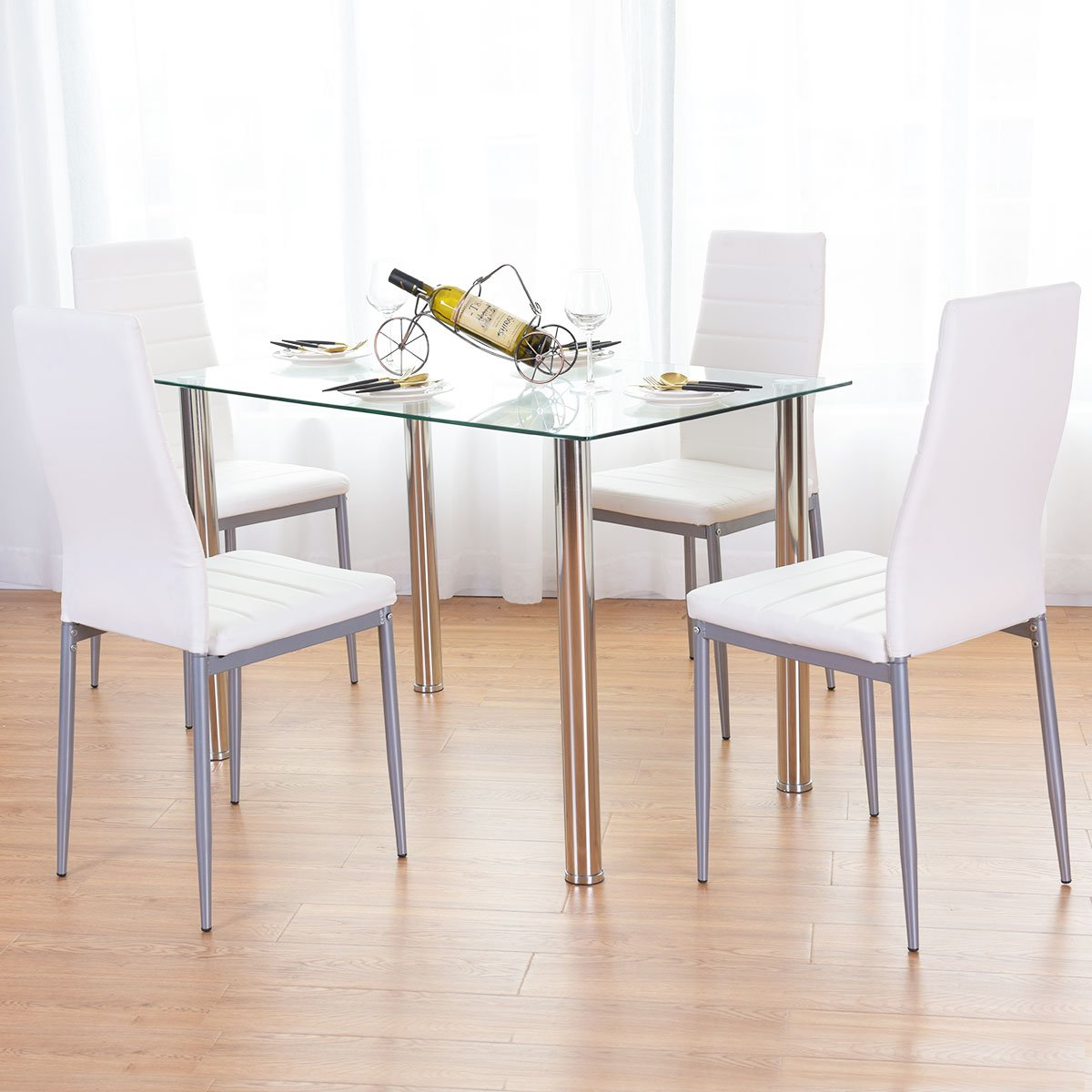Tangkula Dining Table Set 5 PCS Modern Tempered Glass Top PVC Leather Chair Dining Table and Chairs Set Dining Room Kitchen Furniture, White by Tangkula