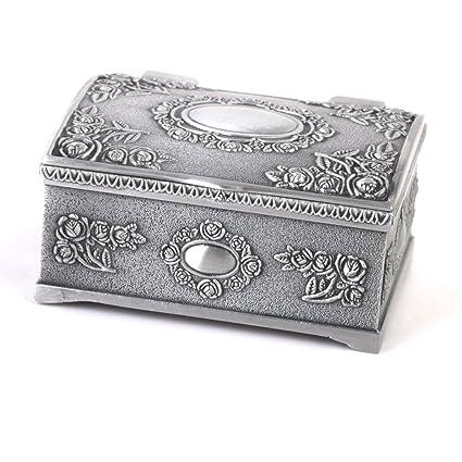 Coffret Boîte à Bijoux Vintage Forme de Coffre au Trésor d\u0027Argent Antique