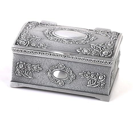 Caso Caja Del Anillo De La Joyeria De La Forma De Lata Del Regalo Del Vintage Cofres Del Tesoro De Plata Antigua