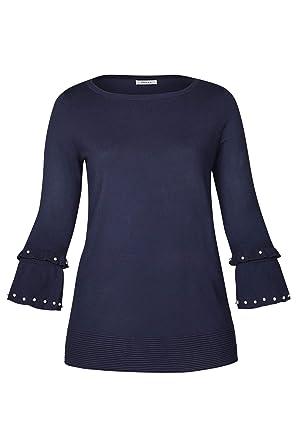 c125fc92b7e6 PAPRIKA Damen große Größen Pullover mit Ärmeln mit Rüschen und Perlen  Indigo 1 (44)