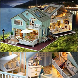 Woolves Dollhouse Miniature DIY Kit with Furniture Creative Room Wooden Cabin Without Dust Cover kindhearted Beautifully