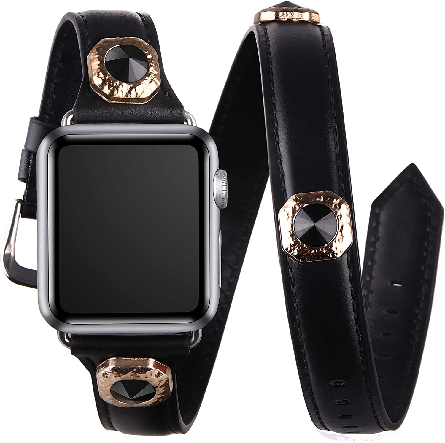 vikoros Leather Double Wrap Bands Compatible with Apple Watch 38mm 40mm 42mm 44mm iWatch SE Series 6/5/4/3/2/1, Bling Studs Leather Double Tour Straps Bracelet Wristband for Women Girls