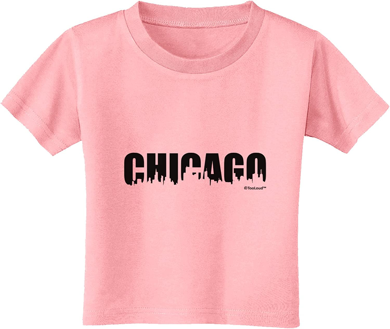 TooLoud Distressed Chicago Flag Design Toddler T-Shirt Dark