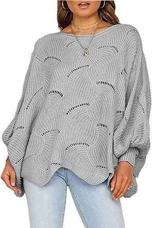 Aranmei Jersey para Mujer Cuello Redondo Manga Larga Casual Suelto Sweater Suéter Pullover Stripe Tops Blusa