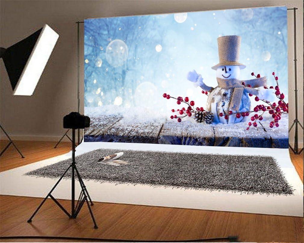 YongFoto 2,2x1,5m Fondo de Fotografia Navidad Bolas Golden Star Bokeh Halos Glitter Sequins Snowflakes Nieve Invierno Osos Blancos Navidad Feliz a/ño Nuevo Tel/ón de Fondo Fiesta Estudio Fotogr/áfico