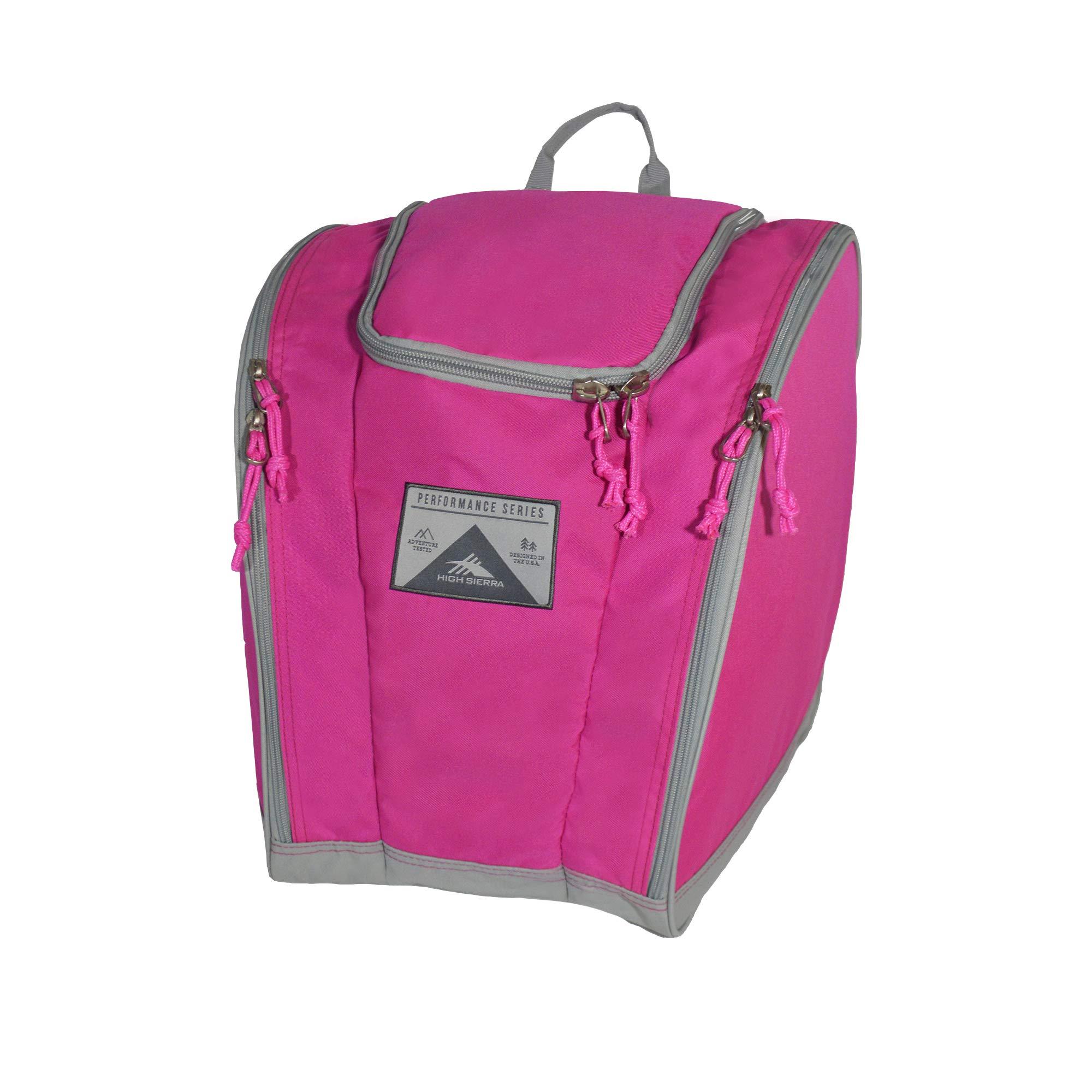 High Sierra Ski Boot Trapezoid Boot Bag, Flamingo/Ash