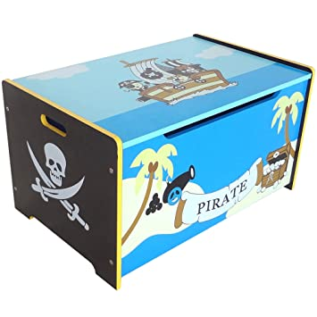 Stupendous Bebe Style Toddler Sized Premium Wooden Pirate Toy Box And Bench Pirate Theme Easy Assembly Blue Creativecarmelina Interior Chair Design Creativecarmelinacom