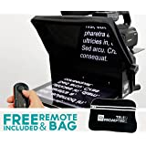 TeleprompterPAD iLight Pro 10'' Black w/ Remote - 100x100 Aluminum - Robust Professional Product (No Flimsy Plastic) iPad/Android Autocue Portable Multi-camera (DSLR and Professional Video Cams) HD Beamsplitter Glass - High Quality Manufacturing - Made in EU