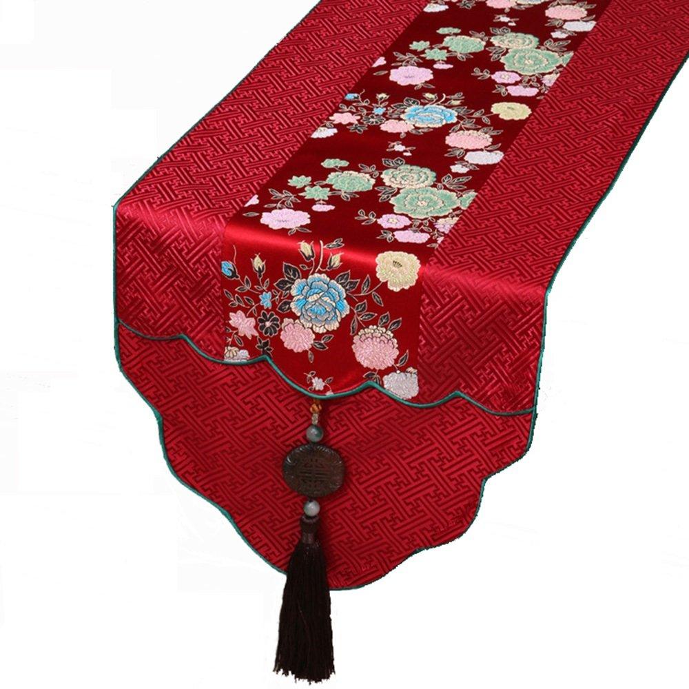 サテンテーブルランナー、結婚式の宴会の装飾、明るいシルクとスムーズな生地のテーブルランナー - 赤のための13 X 72インチ ( サイズ さいず : 33×230cm ) 33×230cm  B07BP6KHV9