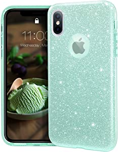 "MATEPROX iPhone Xs case,iPhone X Glitter Bling Sparkle Cute Girls Women Protective Case for iPhone Xs/X 5.8""-Green"