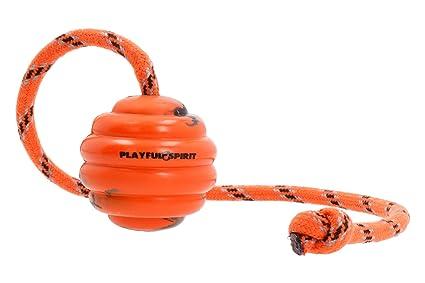 PlayfulSpirit Pelota de Goma con Cuerda – Juguete para perros ...