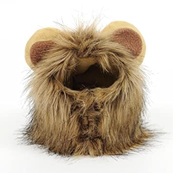Peluca Disfraz de León, Sombrero Pelo con Orejas Diverdido Cosplay Traje para Perro Gato Cachorro Mascotas, Marrón: Amazon.es: Juguetes y juegos