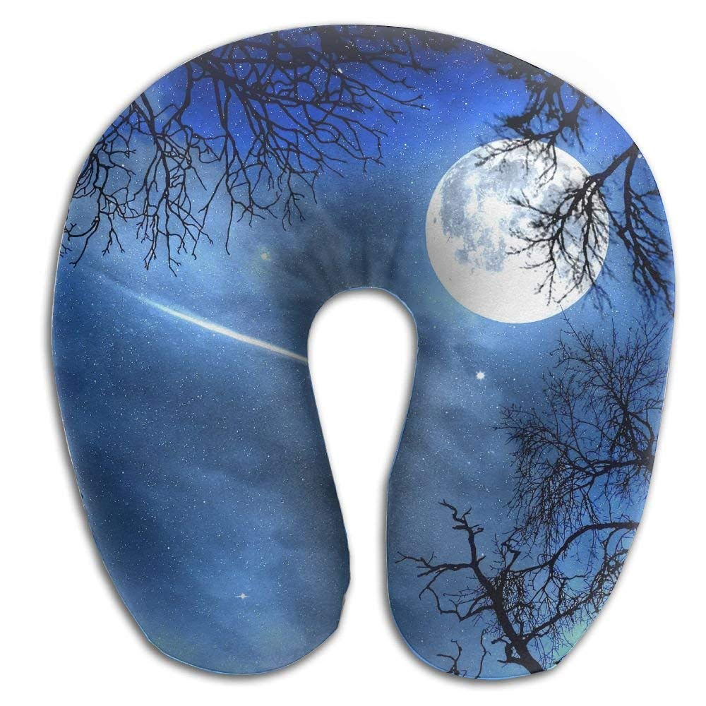 Miedhki U-Shaped Pillow Neck Shoulder Body Care Artistic Moon in Sky Health Soft U-Pillow for Home Travel Flight Unisex Supportive Sleeping