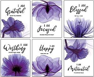 "Purple Elegant Tulip Inspirational Quotes Wall Decor Bathroom Wall Art Painting Spa Bathroom Woman Girl Bedroom Living Room Art Prints Set of 6 (8""X10"" Canvas Picture) Home Decor Unframed"