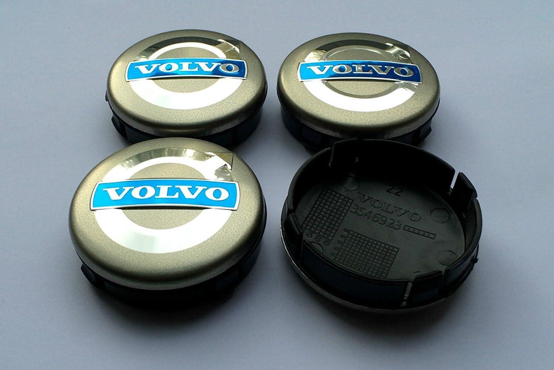 4/x Alloy Wheel Centre Caps Hub Volvo C70/S60/V60/V70/S80/XC90/64/mm Black//Blue