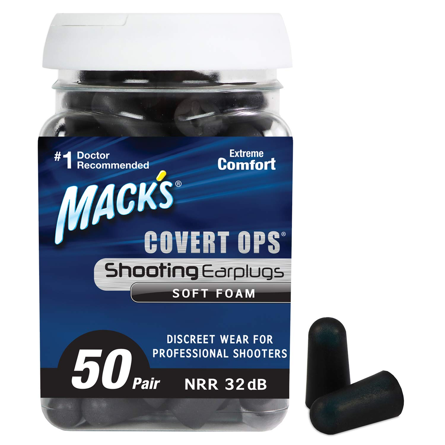 Mack's Covert Ops Soft Foam Shooting Ear Plugs, 50 Pair - 32 dB High NRR, Comfortable Earplugs for Hunting, Tactical, Target, Skeet and Trap Shooting by Mack's