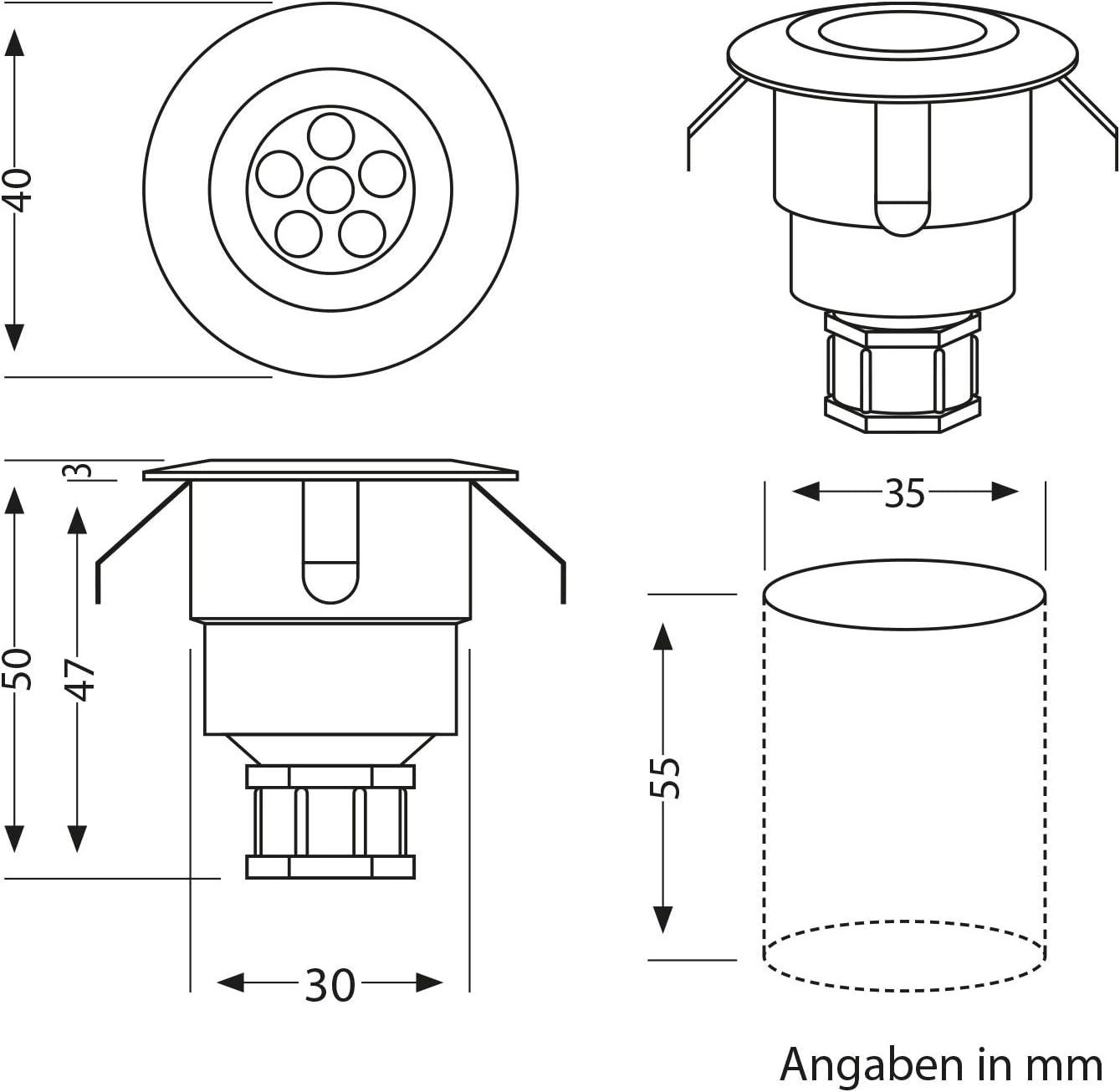 parlat LED Boden-Einbauleuchte Atria mit Dämmerungssensor für außen Aluminium warm-weiß, je 14lm, IP65, 40mm Ø 3er Set Einzeln