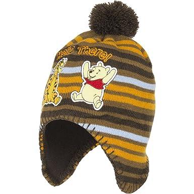 fc642e01731e Winnie l Ourson Bonnet avec protection d oreilles et pompon - Orange marron