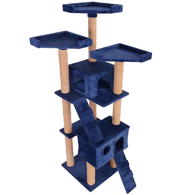Leopet - Árbol rascador para gatos con cuevas, escaleras y plataformas - color azul: Amazon.es: Hogar