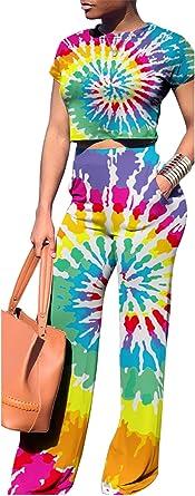 DingAng Women Off Shoulder Long Flare Sleeve Crop Top Pants Set 2 Piece Outfits Jumpsuits