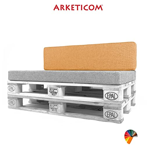 Arketicom Pallett-One, Cojin Respaldo para Sofa en Pallet, Poliuretano HD, Tejido Naranja Misto Cotone 80 cm Lung x 30 cm alt x 15 grossor. 1000% ...