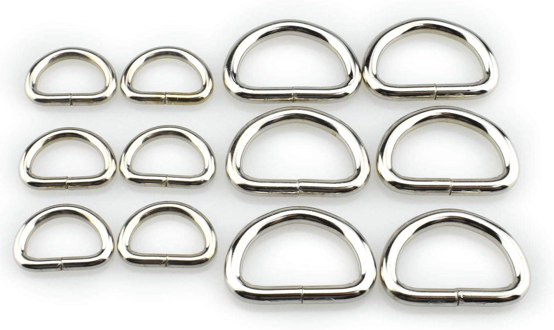 HAO PRO Extra dicke geschwei/ßte starke 2 Gr/ö/ßen D-Form Ringe Metall Heavy Duty Silber 2,2 cm Innenbreite 12 St/ück f/ür Hundehalsb/änder Geschirre Stoff Paracord DIY Gurtband Basteln Glatt rostfrei