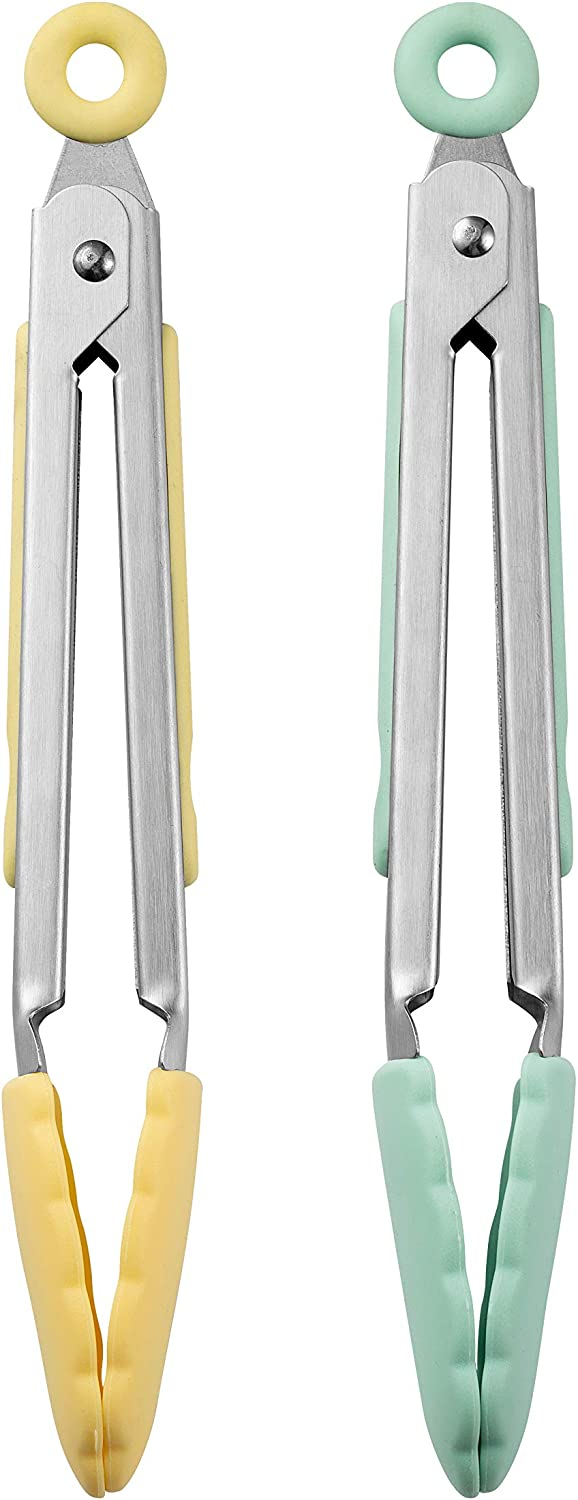 """COOK with COLOR Tongs for Cooking Stainless Steel and Silicone Set of Two 8"""" MINI Nonstick Kitchen Tongs with Silicone Tips Small Tongs Appetizer Tongs Sugar Tongs Salad Tongs (Lemon Collection)"""