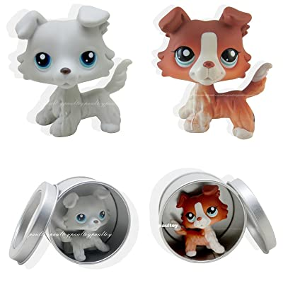 2pcs Rare Littlest Pet Shop Collie Dog Puppy Blue Eyes LPS Toy #363 #1542