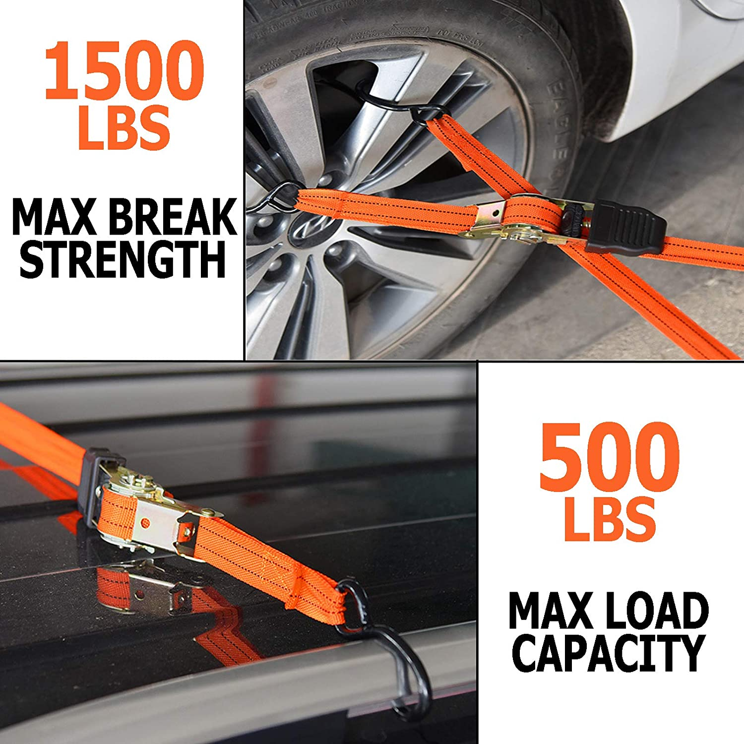 1,500 LB Max Break Strength 15ft Straps 500 Lbs Load Capacity 4PK Securing Cargo Perfect for Home Move Ratchet Tie Down Straps Plastic Coated Metal Hooks - S-Hook Ratchet Straps