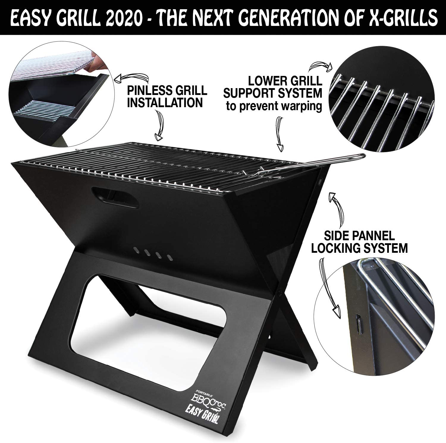 BBQ Croc Portable Easy Grill Premium Foldable Charcoal Barbecue Very Large Grilling Surface