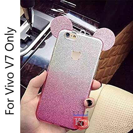 online retailer a83a5 0a277 KC Cute Ears Gradient Glitter 2 in 1 Stylish Girls Case Transparent Soft  Back Cover for Vivo V7 - Pink Colour