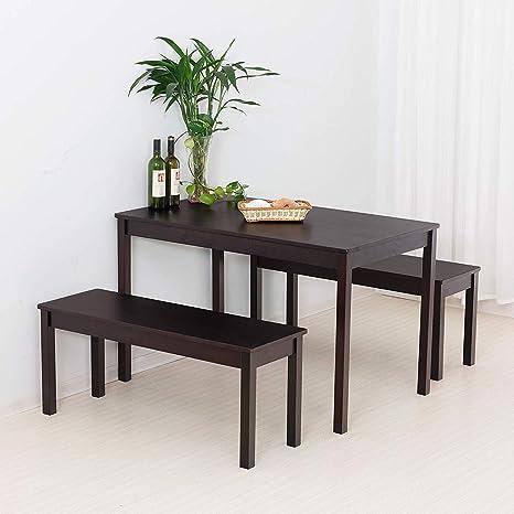 Amazon.com: Mecor - Juego de mesa de comedor de madera con 2 ...