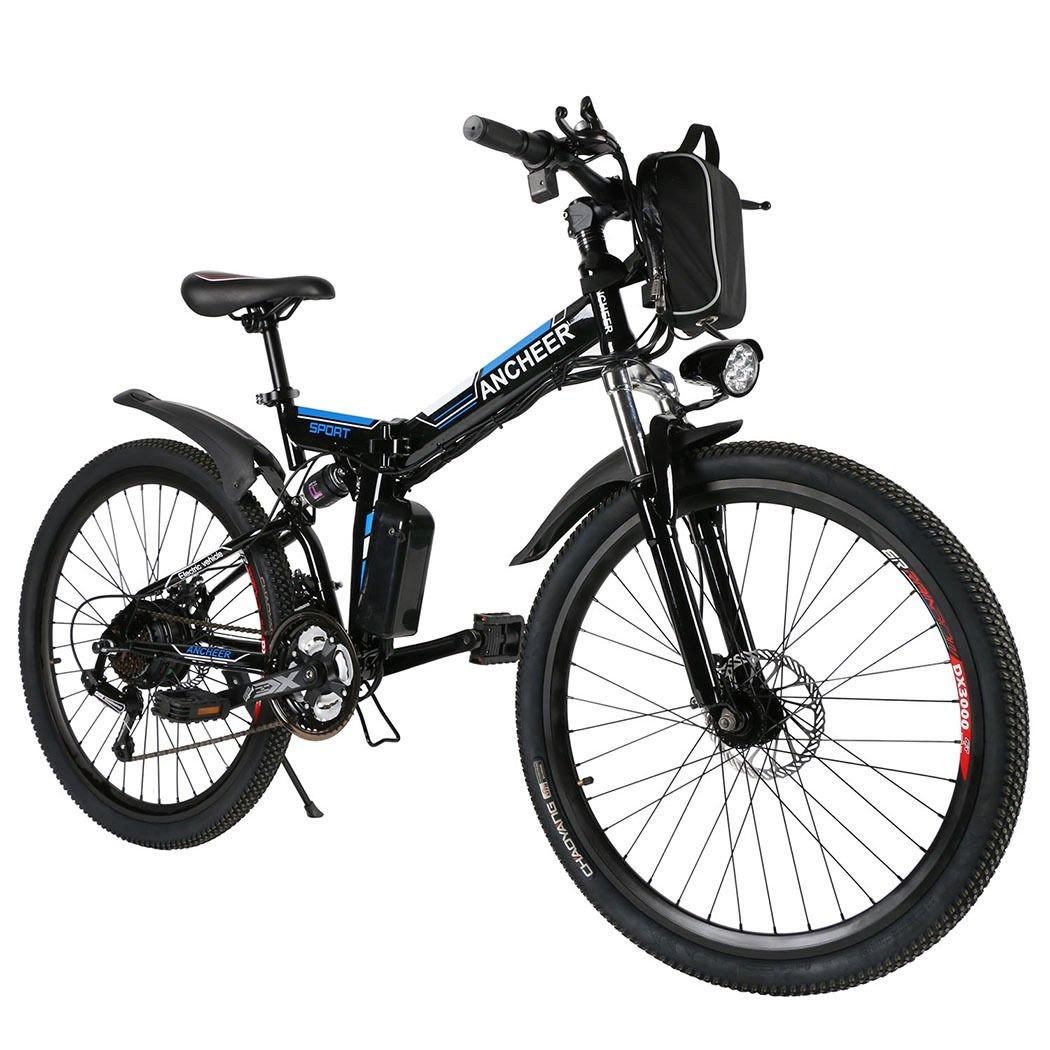Black Bicycle Electric Mountain Bike 250W 36V Lithium Battery