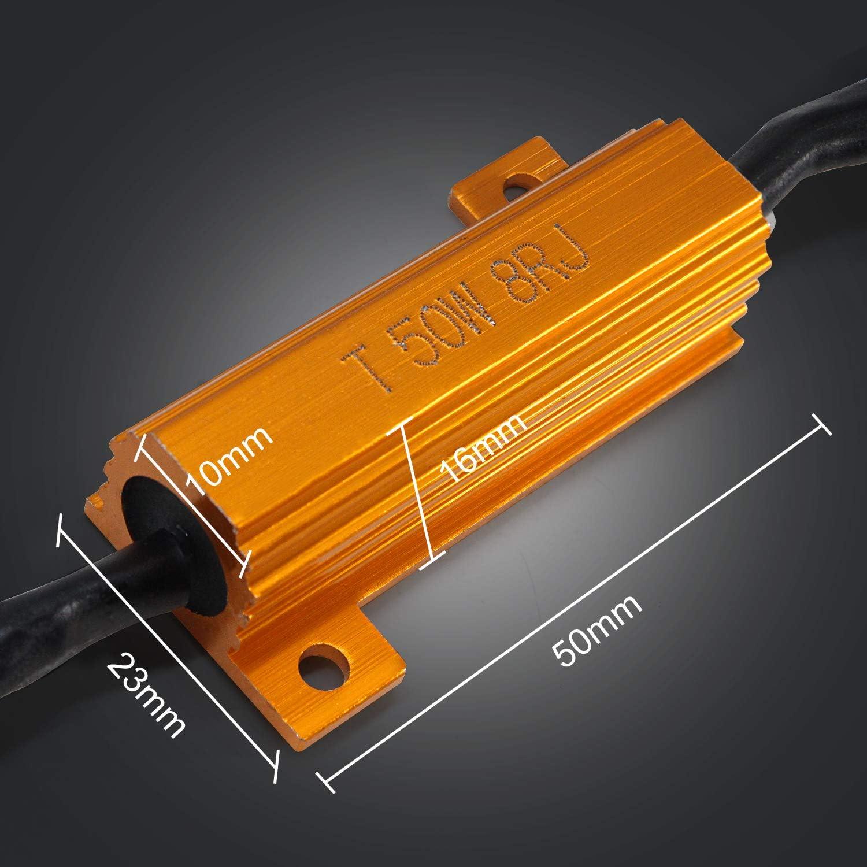 Light Load Resistor Adapter,9005 9006 HB4 50W 8 ohm LED Resistor Warning Canceller Adapter Error Free Load Resistor 2PCS Led Headlight Decoder