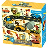 """Mudpuppy Jumbo Construction Site Puzzle for Ages 2 to 5 – 25 Piece Construction Equipment Puzzle, Measures 22"""" Square"""