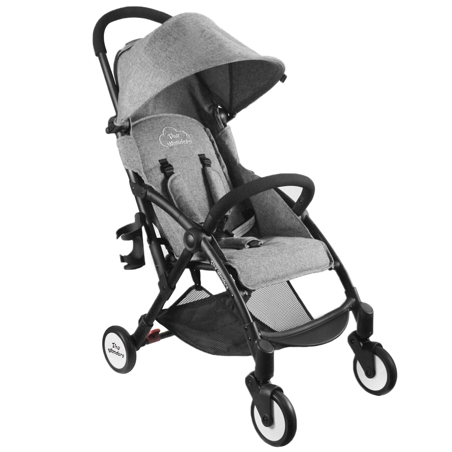 Single Baby Stroller with Dual-Brake, Portable LightWeight Travel Pram with Large Canopy For Infant, Toddler, Baby Boys and Girls, Unisex 3 Month Old and Up(Gray) - Tiny Wonders
