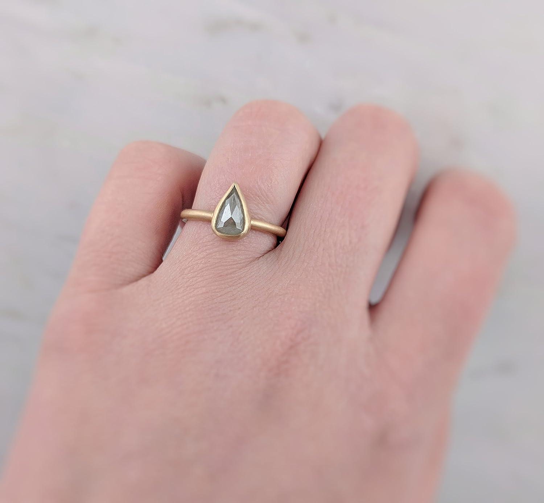Amazon.com: Ice Grey Pear Rose Cut Diamond Ring 14K Yellow Gold ...