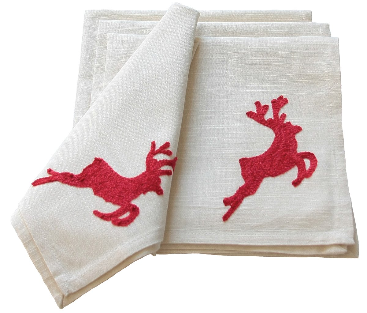 Red Crewel Embroidered Reindeer Christmas Napkins Set of 4