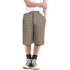 Dickies ディッキーズ メンズ ハーフパンツ ショートパンツ チェック 4カラー 大きいサイズ スポーツ おまけ付き 並行輸入品 BEIGEチェック 34