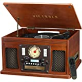 Victrola Navigator 8-in-1 Bluetooth Record Player & Multimedia Center with Built-in Stereo Speakers - 3-Speed Turntable, Vinyl to MP3 Recording | Wireless Music Streaming | Mahogany